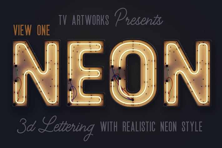 Thumbnail for Modern Neon 3D Lettering View 1