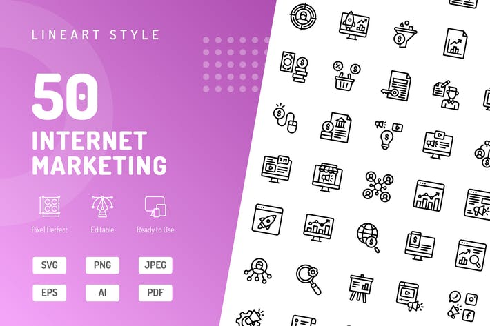Icons für Internet-Marketing-Linien