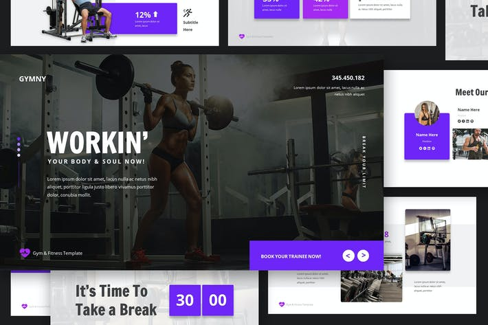 Thumbnail for Gym & Fitness Google Slides Presentation