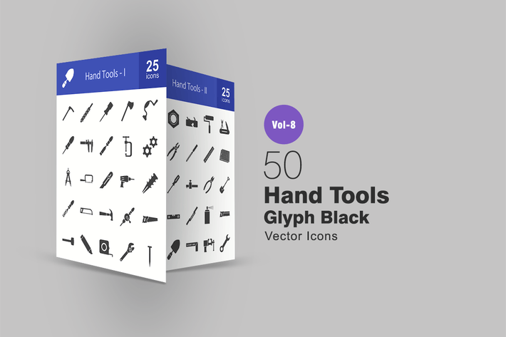 Thumbnail for 50 Hand Tools Glyph Icons