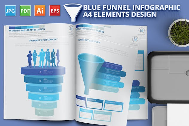Blue Filter Funnel Infographics - product preview 0