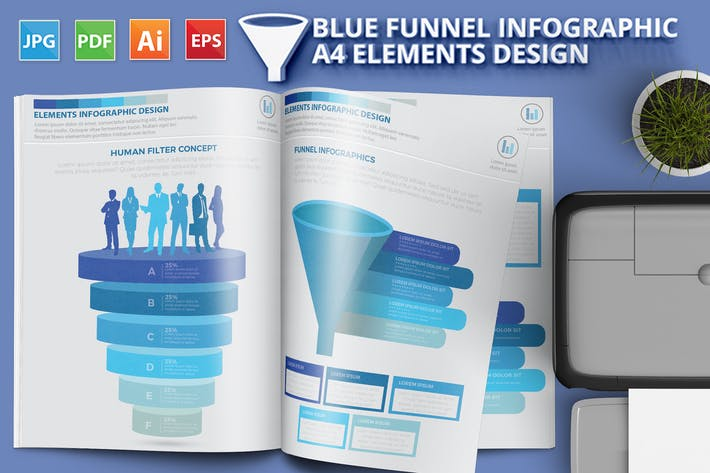 Thumbnail for Blue Filter Funnel Infographics