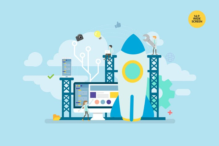 Cover Image For Technology Startup Launch Vector Concept Illustrat