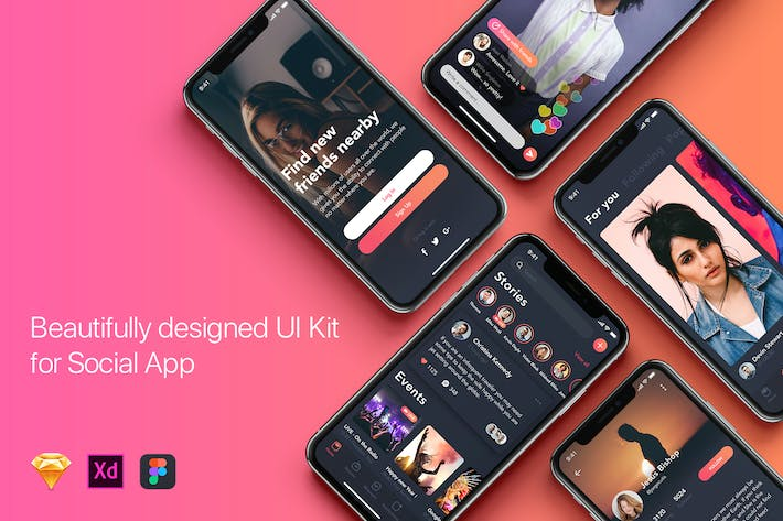 Thumbnail for Social Mobile App UI Kit for iPhone X