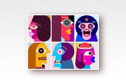 Шесть разных людей Портреты вектор иллюстрация