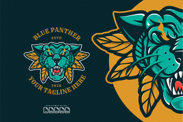 Thumbnail for Head of Blue Panther Logo Mascot