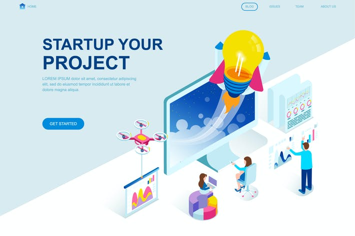 Thumbnail for Startup Project Isometric Landing Page Template