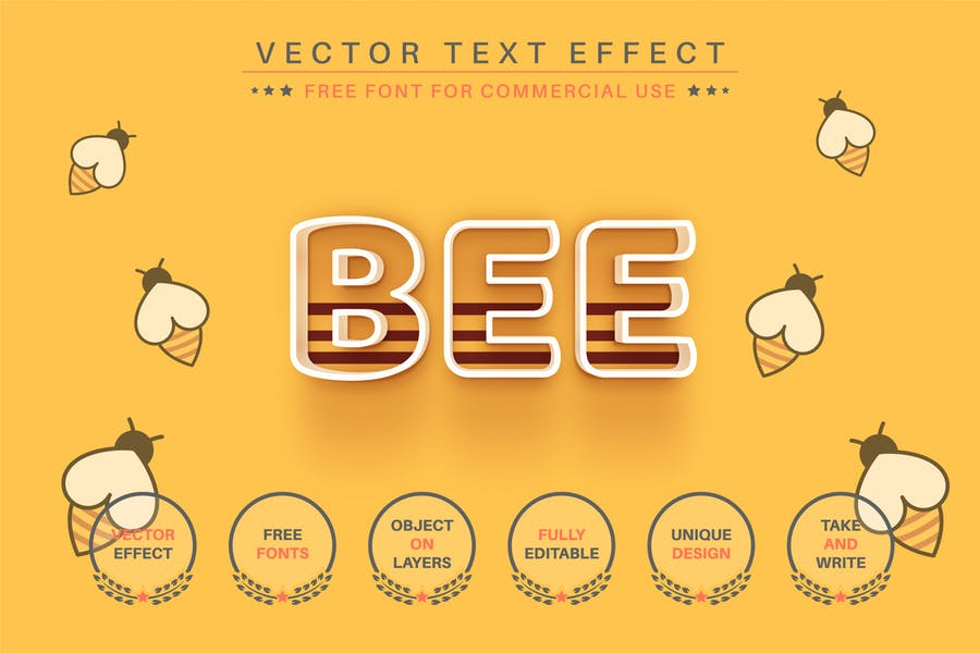 Bee -  Editable Text Effect, Font Style