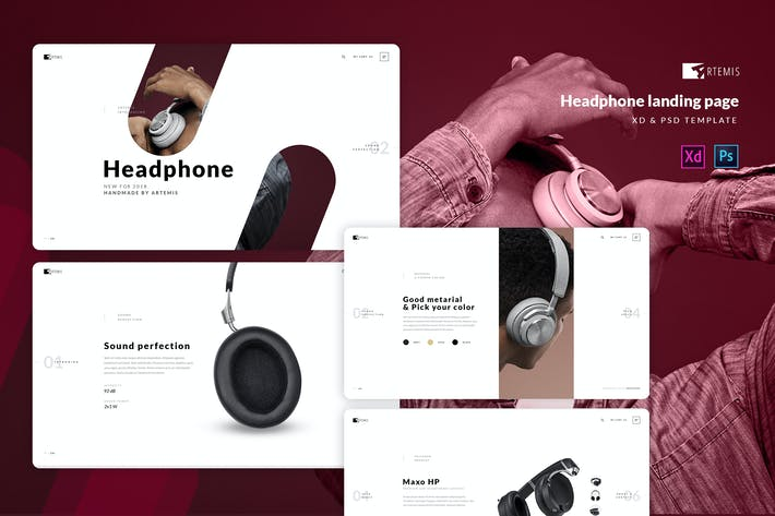 Thumbnail for Artphone - Headphone landing page template