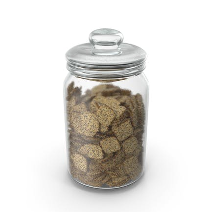 Jar with Mini Rhombus Crackers with Sesame and Poppy Seeds