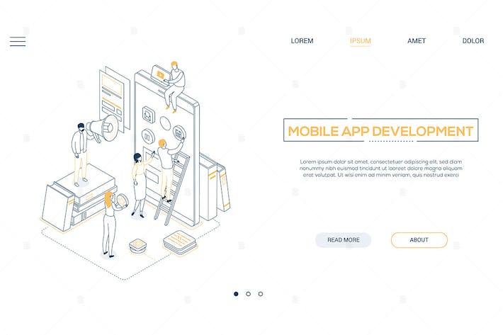 Thumbnail for Mobile app development - isometric illustration