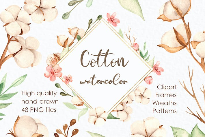 Thumbnail for Watercolor cotton. Clipart, frames, wreaths