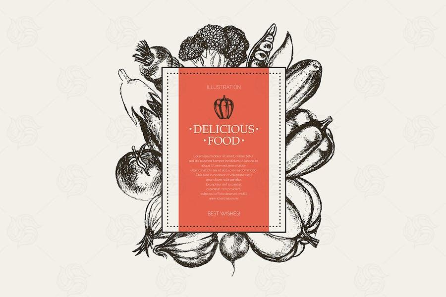 Vegetables - hand drawn square banner