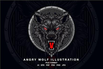 Wütender Wolf Illustration