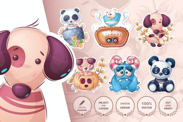Set cute sticker - seamless pattern - product preview 13