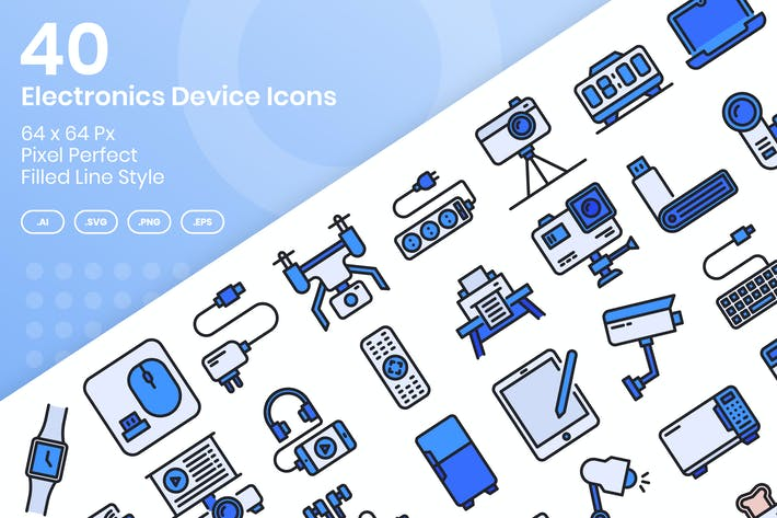 Thumbnail for 40 Electronics Device Icons Set - Filled Line