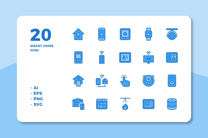 Thumbnail for 20 Smart Home Icons (Lineal Color)