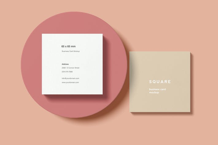 Thumbnail for Square Business Card Mockup with circle shape
