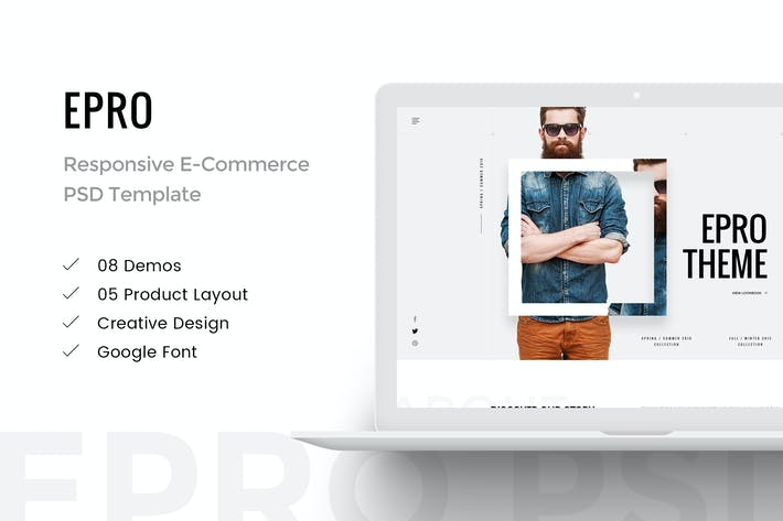 Thumbnail for Epro - Responsive E-Commerce PSD Template