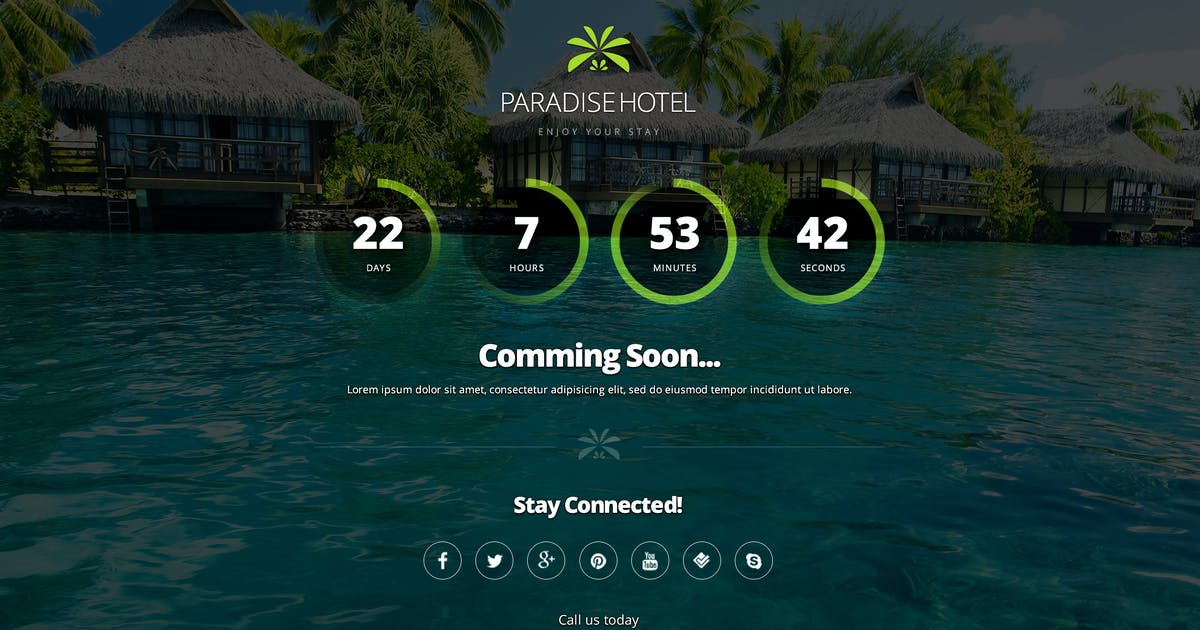Download Paradise Hotel Coming Soon & 404 Error Page by creakits