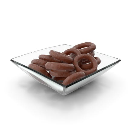 Square Bowl with Chocolate Covered Rings