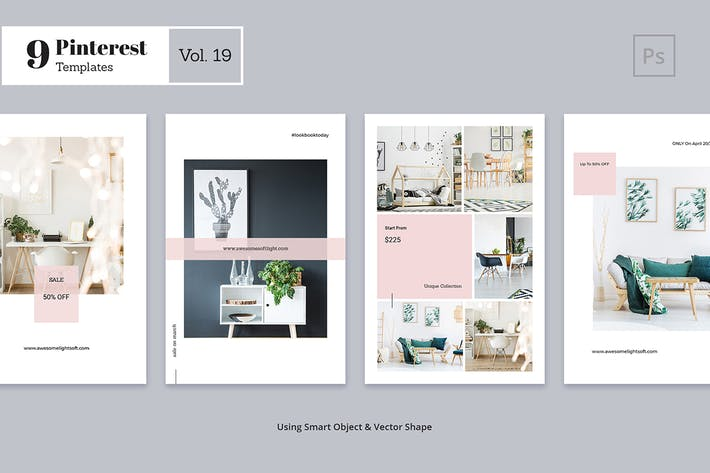 Thumbnail for Pinterest Templates Vol. 19