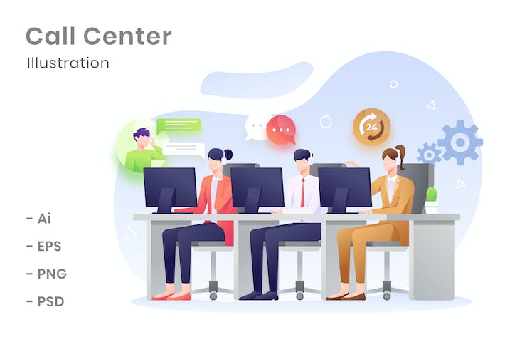 Callcenter-Illustration