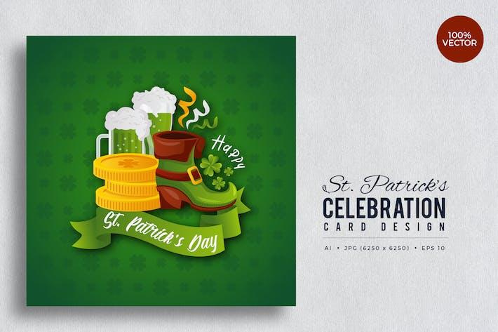 Cover Image For Tarjeta Vector cuadrada del Día de San Patricio Vol.5