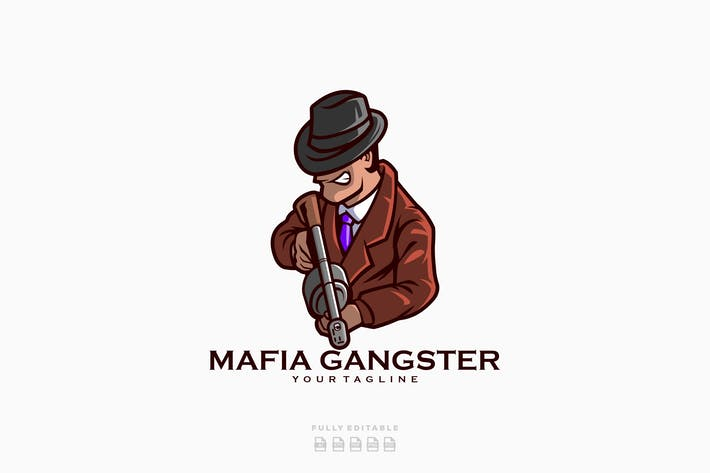 Thumbnail for Mafia Gun Gangster Logo