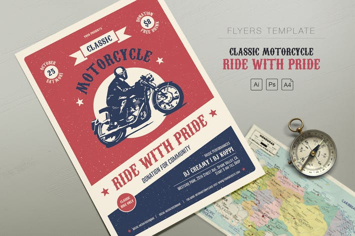 Cover Image For Classic Motorcycle - Ride with Pride Flyers