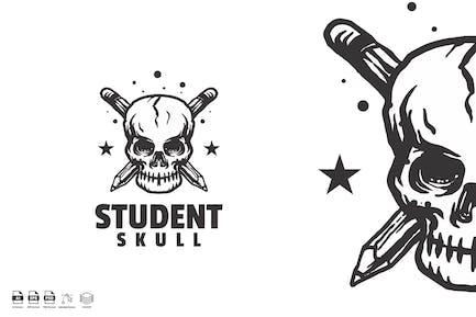 student skull vintage logo
