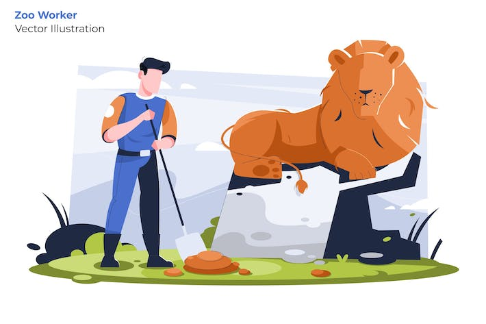 Thumbnail for Zoo Worker - Vector Illustration