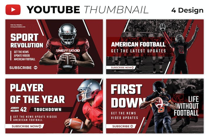 American Football Youtube Thumbnail Template