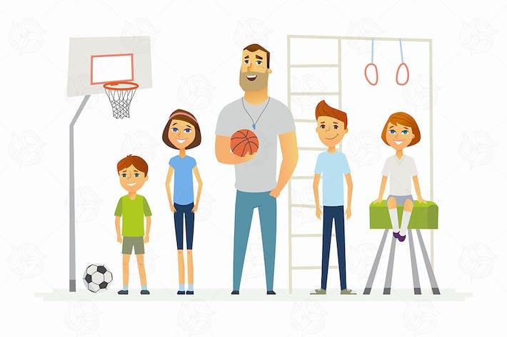 Thumbnail for PE lesson at school - modern vector illustration