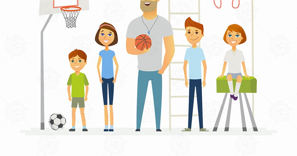 Download PE lesson at school - modern vector illustration by BoykoPictures