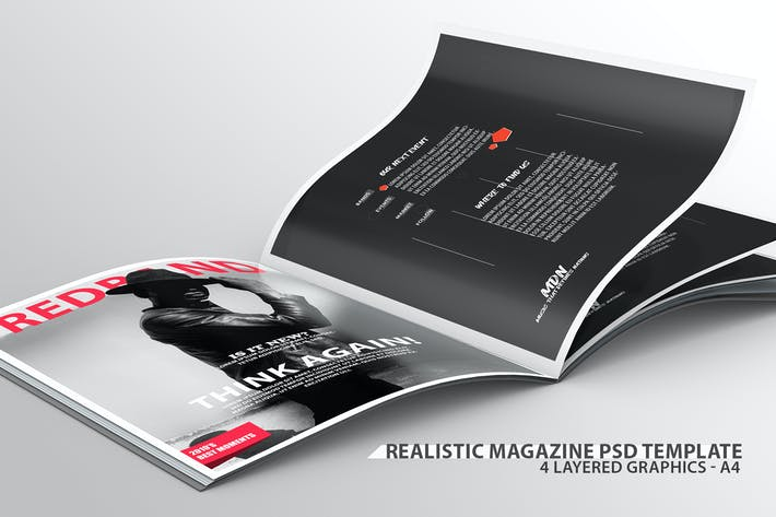 Thumbnail for Realistic Magazine PSD Template