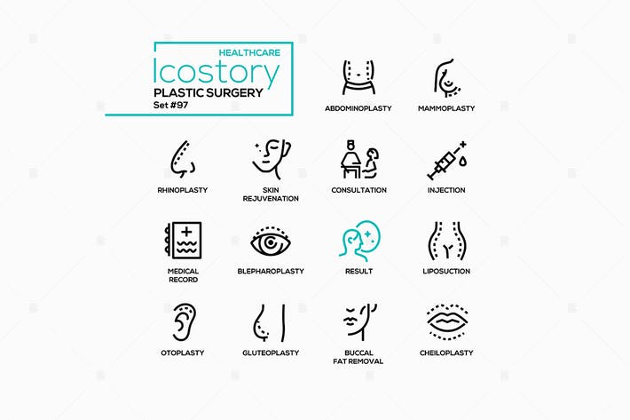 Plastic surgery - line design style icons
