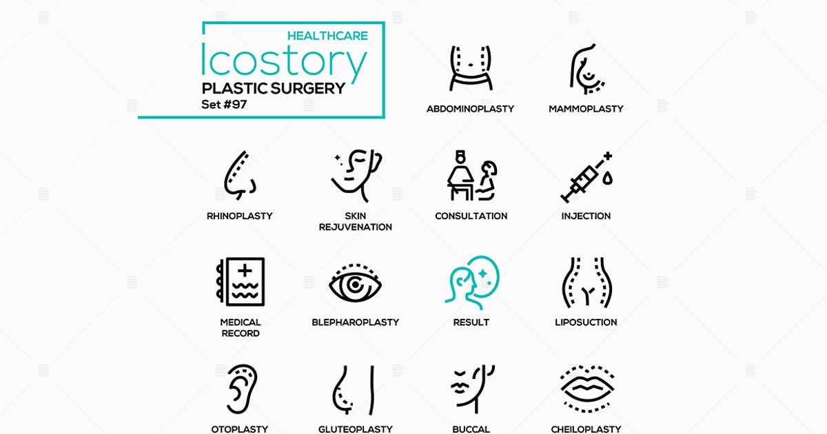 Download Plastic surgery - line design style icons by BoykoPictures