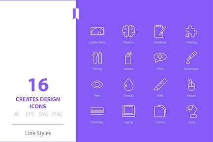 Flache Kreative Design-Ikone Set Linienstile