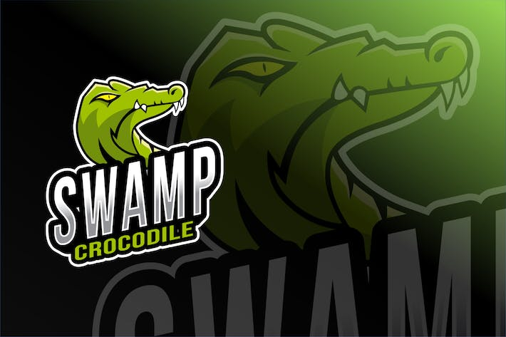 Swamp Crocodile Esport Logo Template
