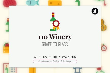 110 Winery elements icon pack