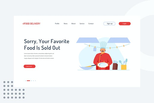 Sorry, your favorite food is sold out Landing Page