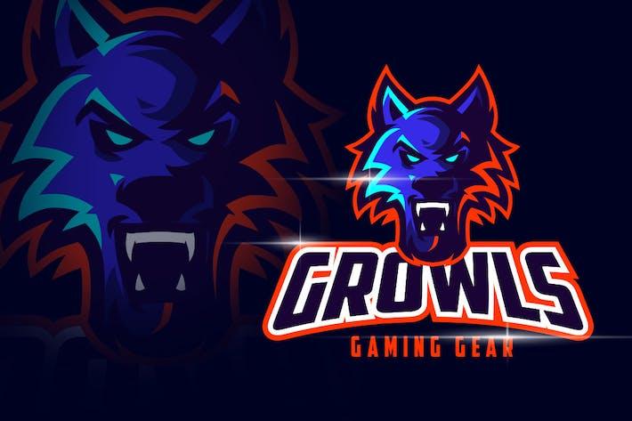 Thumbnail for Angry Wolf Mascot Esports Logo