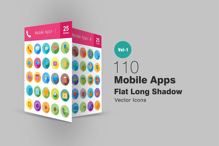 Thumbnail for 110 Mobile Apps Flat Long Shadow Icons
