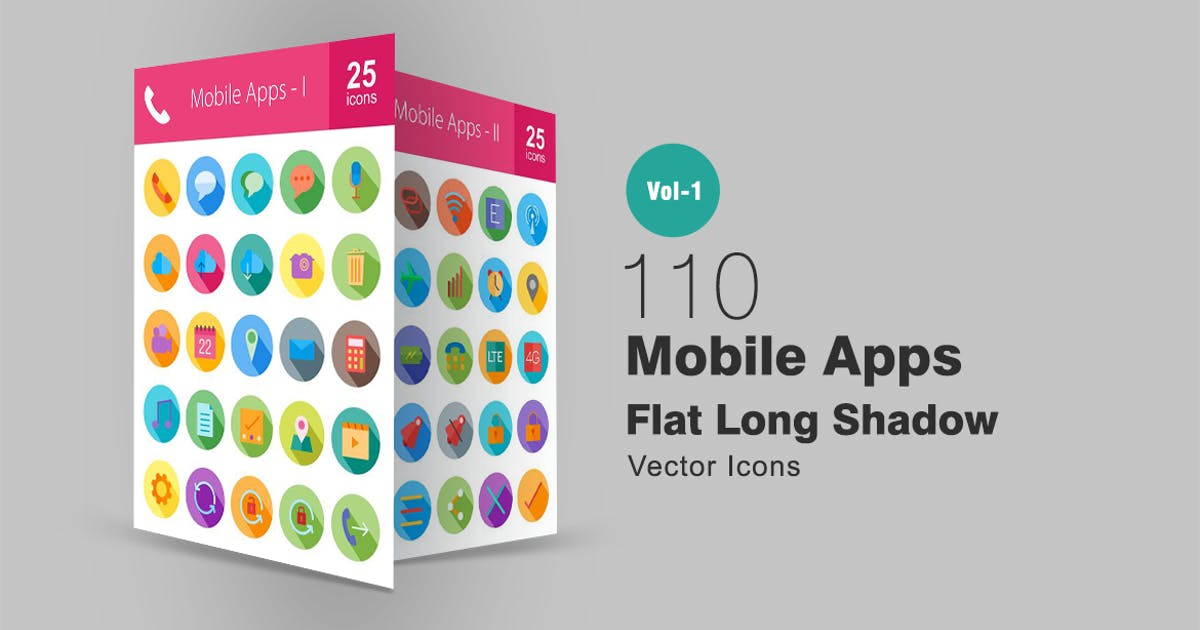 Download 110 Mobile Apps Flat Long Shadow Icons by Unknow