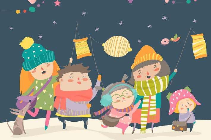 Thumbnail for Happy kids celebrating Saint Martins day. Vector