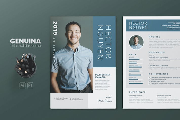Thumbnail for Clean Minimalist CV Resume AI and PSD Flyer Vol.23