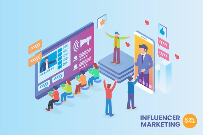 Thumbnail for Isometric Influencer Marketing Vector Concept