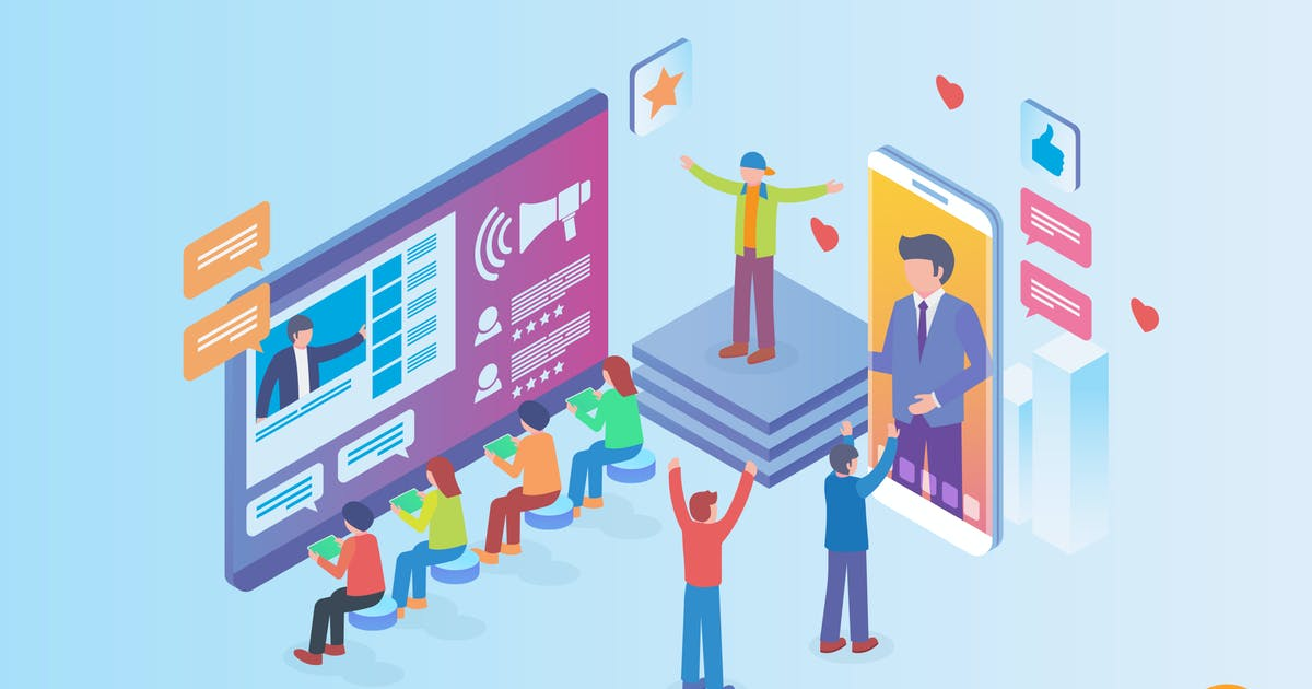 Download Isometric Influencer Marketing Vector Concept by naulicrea