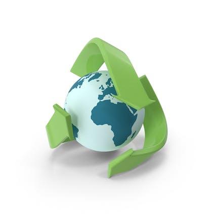 Logo de reciclaje con globo
